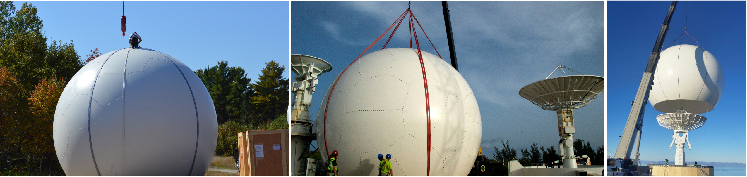 Installing three radomes with cranes